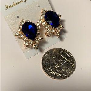 NEW CZ & Sapphire gold tone earrings.